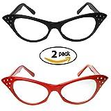 Red & Black Cat Eye Glasses with Rhinestones - 50's 60's Retro Cateye Glasses (2 Pack)
