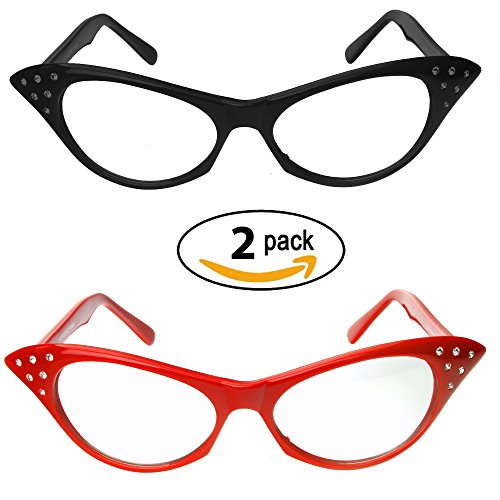 60s Women (Red & Black Cat Eye Glasses with Rhinestones - 50's 60's Retro Cateye Glasses (2 Pack))