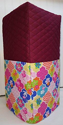 Quilted Pink Flamingos Large Blender Cover (Burgundy) Burgundy Blender