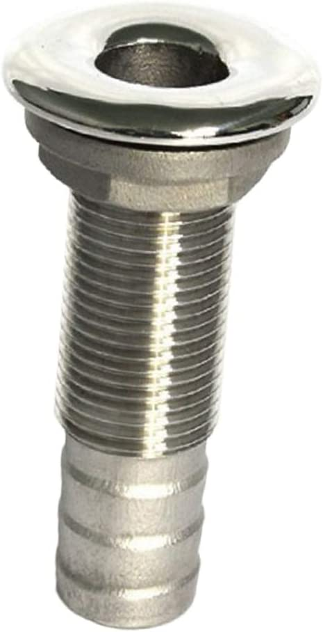 for 1//2Inch Hose Baosity Stainless Steel Straight Thru-Hull Valve Fitting Standard Length