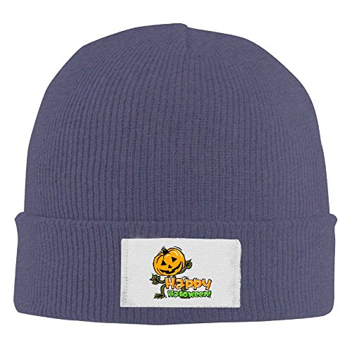 Men Women Pumpkin Happy Halloween Warm Stretchy Knit Wool Beanie Hat Solid Daily Skull Cap Outdoor Winter -