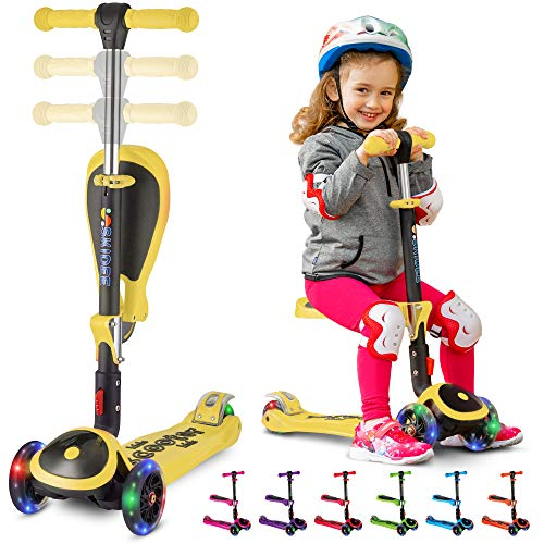 S SKIDEE Scooter for Kids with Foldable and Removable Seat - Adjustable Height, 3 LED Light Wheels, 3 Wheels Kick Scooter for Girls & Boys 2-12 Years Old - Y200