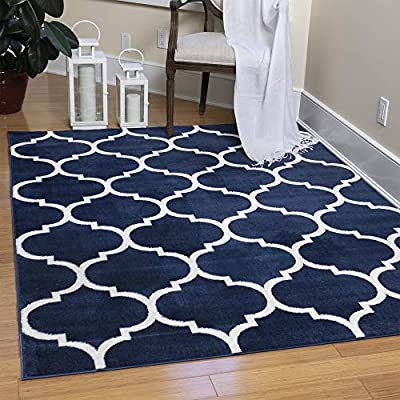"""Ottomanson Royal Collection Trellis Design Area Rug, 5'3"""" x 7', Navy - ROYAL STYLE and SUPERIOR COMFORT to any room with its intricate designs and colors combined with exquisite materials and construction. LONGEVITY and convenient upkeep is ensured with the expert-quality DURABLE construction JUTE-BACKING and BOUND edges for a clean look - living-room-soft-furnishings, living-room, area-rugs - 513mdTd2OnL. SS400  -"""