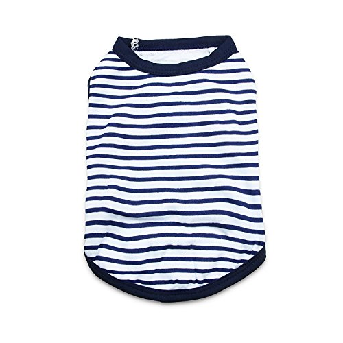 DroolingDog Small Dog Clothes Dog T Shirt Pet Striped Tshirts Puppy Clothes for Small Dogs, Small, Navy (Blue Dog Puppy Apparel)