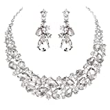 Youfir Austrian Rhinestone Teardrops Necklace and Earrings Jewelry Sets for Women Wedding Party Dress(Clear)