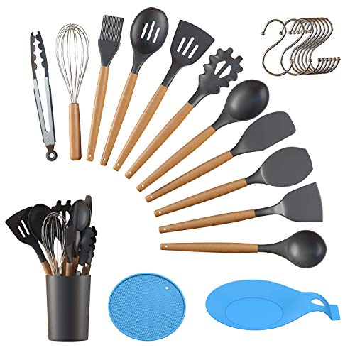 15 Pcs Kitchen Utensils Set Silicone Cooking Utensils Set Large Spoon Holder Spatula Set with Natural Wood Handle Non Toxic Cooking Utensils (Non Stick Cookware BPA Free) Home Kitchen Gadgets Set GREY