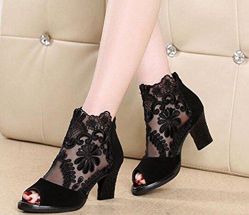 de EU39 oras puntada opcional de moda US8 KUKI abiertas CN39 de rojo la UK6 se sandalias Las la 2 las negro vxYpxU
