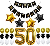 50th BIRTHDAY PARTY DECORATIONS KIT - Happy Birthday Banner, Number 50 Gold ...