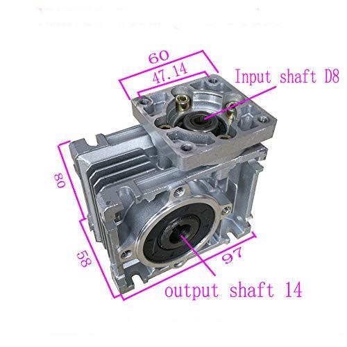 MJJEsports Gusano Engranaje Motor Velocidad Reductor Ratio 10//15//20//25//30//40//50//60//80:1 Para Nema23-030 10:1