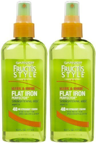 Garnier Fructis Style Sleek & Shine Flat Iron Perfector Straightening Mist 24 Hour Finish, 6 oz.~2-Pack by Fructis - Flatirons Hours