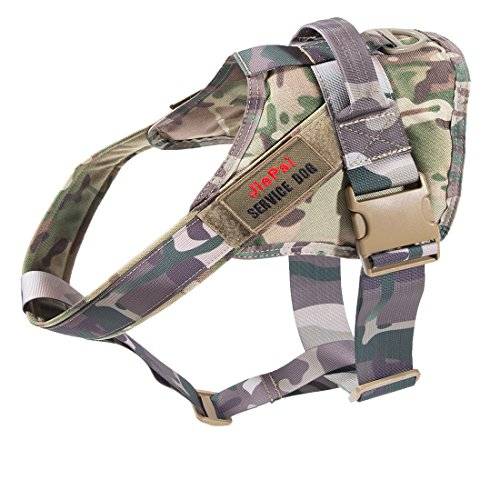 JiePai Tactical Service Dog Vest Comfortable Military Patrol K9 Dog Harness Vest with Handle for Small Large Dogs(Camouflage Pattern,S)