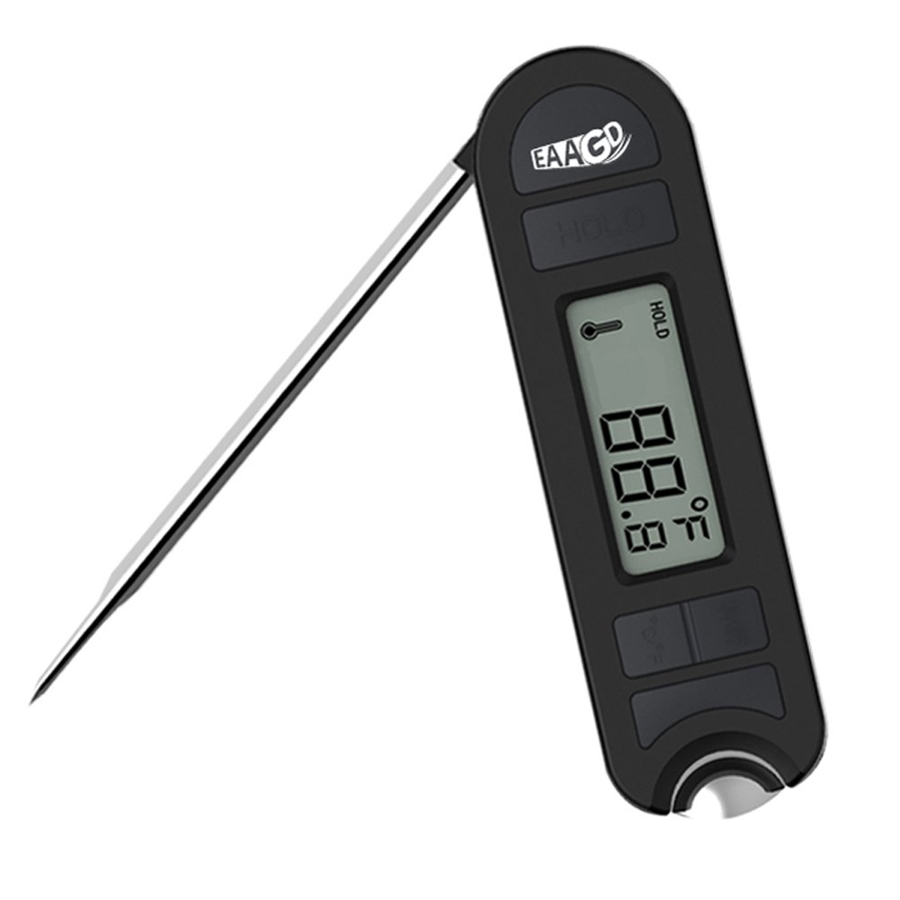 EAAGD Instant Read Digital Meat Thermometer - High Precision Foldable Kitchen Cooking Thermometer with Bottle Opener, Multifunctional Thermometers for BBQ, Coffee,Baby Food,and Bath Water