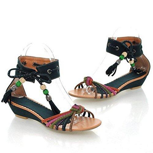 TAOFFEN Mujer Moda Tacon De Cuna Bohemia Sandalias Con Cordones Punta Abierta Zapatos Azul