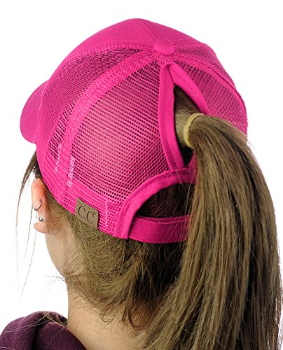 C.C Ponycap Messy High Bun Ponytail Adjustable Mesh Trucker Baseball Cap Hat, Hot Pink]()
