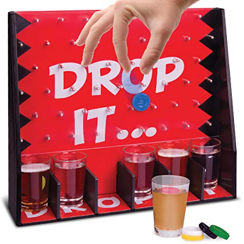 Wembley Drop It Gravity Game, Party Drinking Game for Adults Only, 6 Shot Glasses with Matching Drop Disks and Peg Game Board, Fun Gift, Great for Parties and Game Night, Add to Man Cave and Home Bar]()