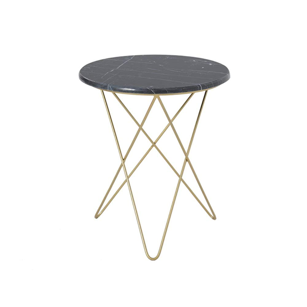 LJHA bianzhuo End Table, Iron Art Small Round Coffee SideTable Dining Table Small Tea Table for Living Room Balcony, Marble Surface Bedside Tables (Color : A, Size : 48x55cm) by GYH End Table