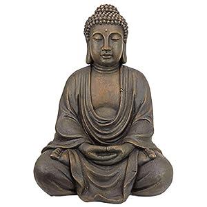 Design Toscano Meditative Buddha of The Grand Temple Garden Statue, Medium 66 cm, Polyresin, Dark Stone