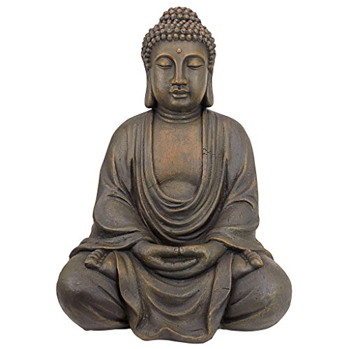 Design Toscano Meditative Buddha of the Grand Temple Garden Statue, Medium 26 Inch, Polyresin, Dark Stone
