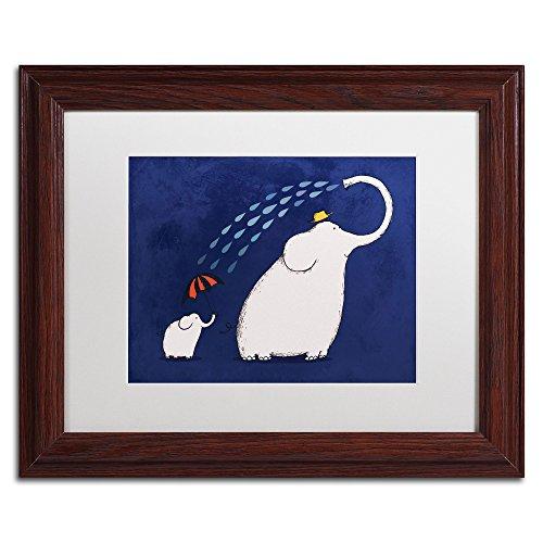 UPC 886511532403, Trademark Fine Art Umbrella Elephant White Matte Artwork by Carla Martell, 11 by 14-Inch, Wood Frame