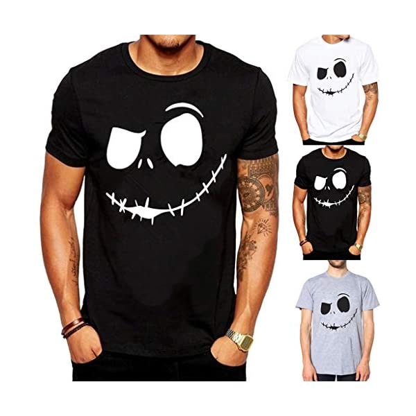 Zefotim Men'S Summer New Evil Smile Face Printed Round-Collar Comfortable T-Shirt Top -