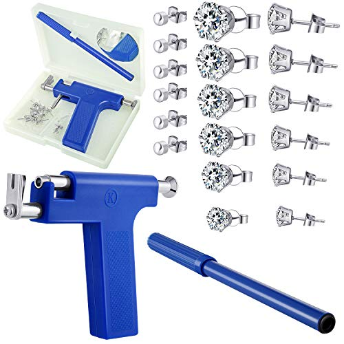 Stainless Steel Body Ear Piercing Tool Set Ear Nose Navel Piercing Machines with 12 Pairs Stainless Steel Stud Earrings for Salon Home Use(Blue)