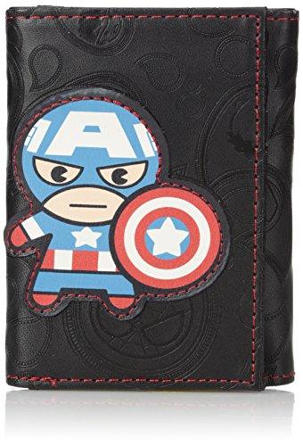 Marvel - portafolios de tres pliegues para hombre en caja de lata coleccionable, Kawaii Captain America, Talla única