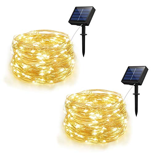 Weepong Solar String Lights Outdoor String lights with 100 LEDs 33ft Silver Copper Wire 8 Modes Waterproof Solar Starry Lights for Wedding Garden Home Patio Lawn Trees (Warm White 2 Pack)