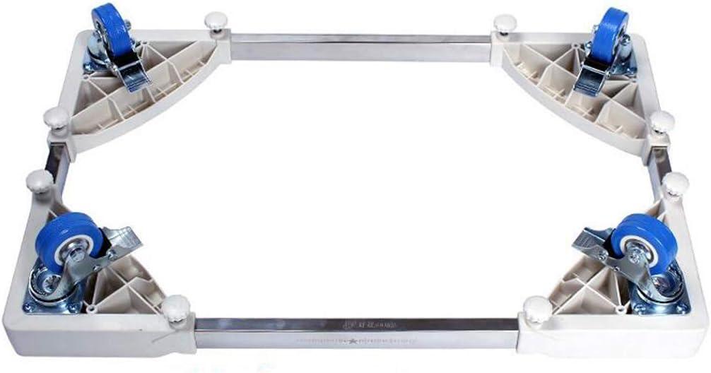 WENYAO Base Ajustable móvil Multifuncional con 4 Ruedas giratorias de Goma de Bloqueo Tamaño Ajustable Carro de Rodillo Universal para Secadora, Lavadora y refrigerador