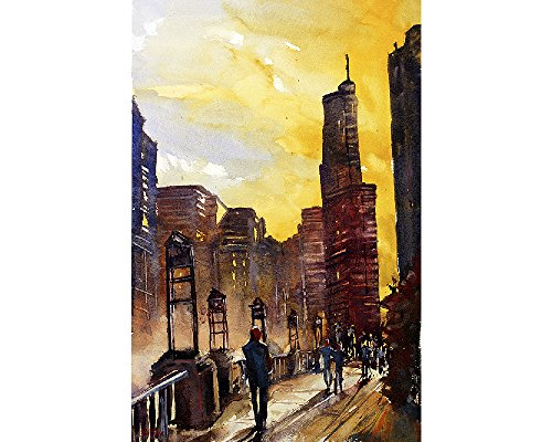 Watercolor painting of skyscrapers of downtown Chicago, Ill (print)Watercolor painting of skyscrapers of downtown Chicago, Ill - State Downtown Street Chicago