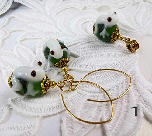 Pendant and earrings set Green and white lampwork Frog bead Victorian style Animal earrings Frog jewelry