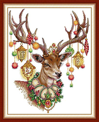 Stamped Cross Stitch Kits Quilt Pre-Printed 14CT Cross Stitch Pattern Fabric Hand Design Embroidery Kit Needle Artwork Holiday Wreath 54/×54CM