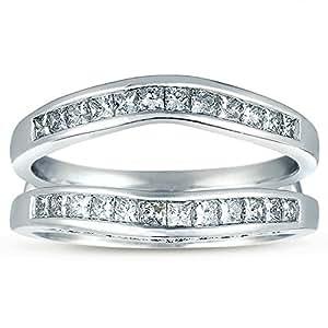 Princess Cut Diamond Solitaire Enhancer Wrap - Round Accent Diamonds 14k White Gold 3/4 cttw (HI, I1-I2) (4.5)