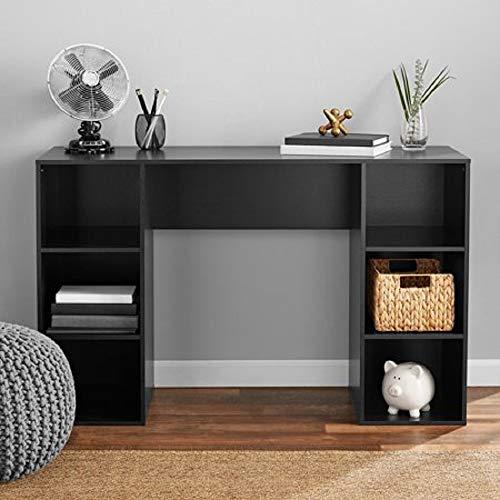 Mainstay Student Desk, Black (6 Cube Storage Desk, True Black Oak)