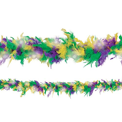 Amscan Light-Up Mardi Gras Feather Boa, Carnival Party
