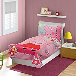 Comfy and Sturdy Peppa Pig 4-piece Toddler Bedding Set in Pink Color. Features Comforter, Reversible Fitted Sheet, Flat Sheet and Pillowcase That Your Kids Will Surely Love.
