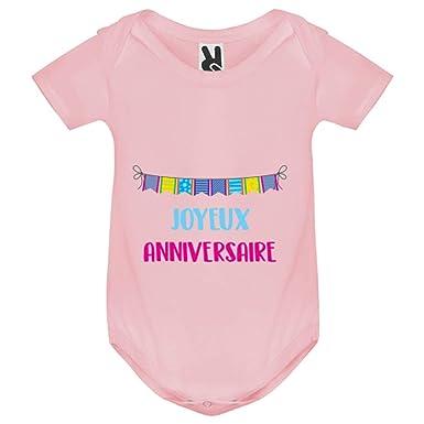 My Kase Body Bebe Joyeux Anniversaire Bebe Fille Rose 12mois