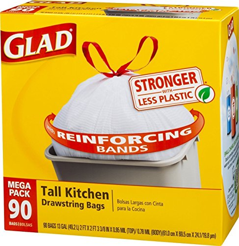 Glad Steep Kitchen Drawstring Trash Bags, 13 Gallon, 90 Count, New, Free Shipping