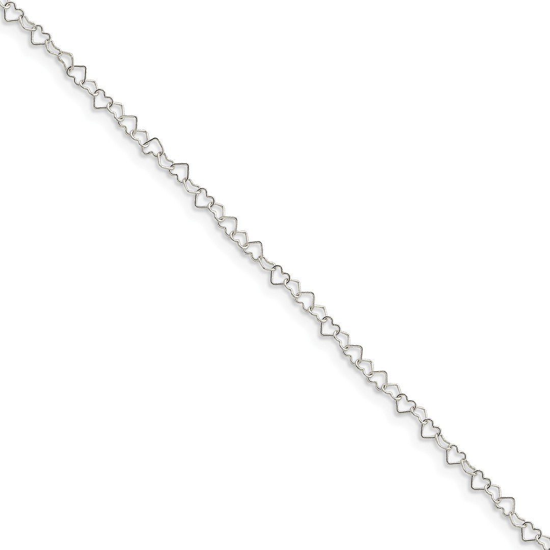 Ankle Bracelet Foot Jewelry Anklet - ICE CARATS 925 Sterling Silver 0.5mm Heart Link Anklet Ankle Beach Chain Bracelet Fine Jewelry Ideal Gifts For Women Gift Set From Heart by ICE CARATS (Image #1)