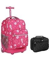J World Rolling Backpack & Lunch Bag School Combo Bundle Set Sunrise / Cody