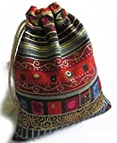 10 Pieces of Egyptian Style Coin / Jewelry / Gift / Party / Goodie / Candy / Accessories Drawstring Pouch / Bag - Small Size 4X4.5 Inches (Red)