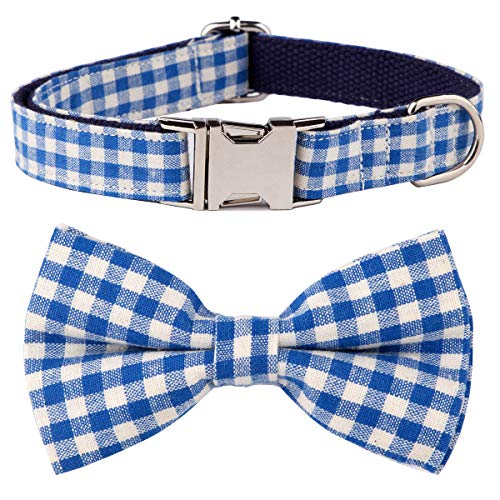 (csspet Blue Gingham Dog and Cat Collar Bow Tie, Cute Cool Boy Girl Male Female Basic Collars with Bowtie for X-Small XS)