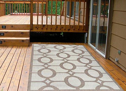 Cheap  Ottomanson Jardin Collection Natural Circles Design Indoor/Outdoor Jute Backing Area Rv Patio..