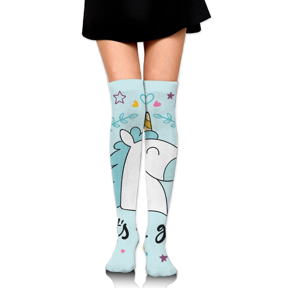 MMMN Hand Drawn Style Womens CVC Tube Over Knee Thigh High Stockings Netherstock Hose Boot Sock