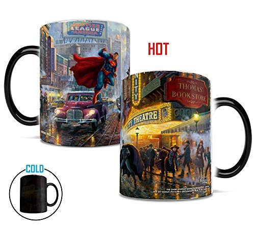 DC Comics- Batman Superman Wonder Woman Justice League - Thomas Kinkade - Morphing Mugs Heat-Sensitive Mugs - by Trend Setters -