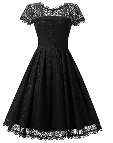 SHUNLIU Vestidos de Fiesta Largos Vestido de Encaje Retro con Cuello Redondo Vestido de Mujer Elegantes de Noche Vestidos Talla Grande Negro