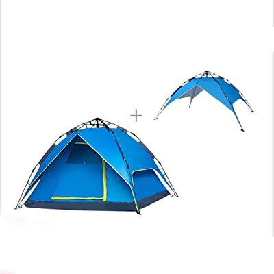 Deng Tente récréative automatique / tente de randonnée pédestre avec sac à main / 3-4 personnes tente de camping / tentes à dos