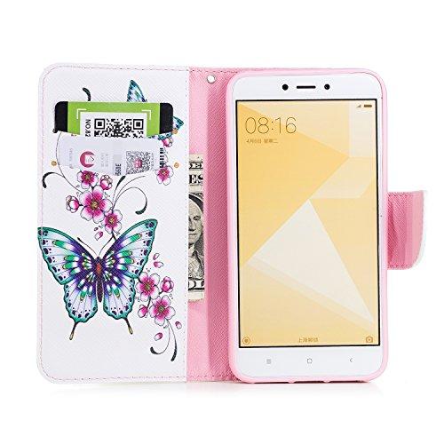 Cover para Xiaomi Redmi 4X 5.0 , WenJie Mariposa de cártamo Protección de soporteMuchacha blanca de la mariposa Cuero case PU Suave Funda Case Tapa Caso Parachoques Carcasa Cubierta para Xiaomi Redmi
