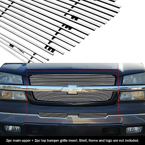Compatible with 03-05 Silverado 1500 03-04 2500 3500 Main Upper Billet Grille Comb C67675A