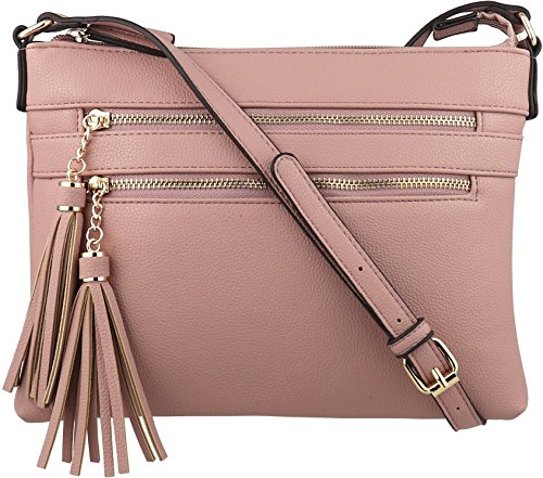 Blush n Crossbody Tassel Multi with Handbag BRENTANO Zipper Purse Accents B Vegan HPSwnp6xqv