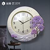 The high-end fashion landscape decoration living room wall clock round clock creative stereo clock,A